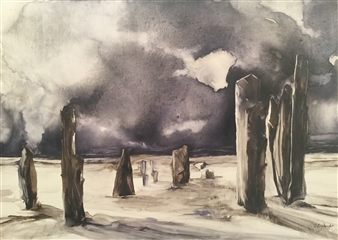D. L. Brabander - Standing in Isolation II Watercolor on Canvas, Paintings