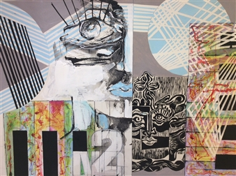 Michael Dolen - Circus Portraits: Second Movement 874M Wood-Cut & Mixed Media on Paper, Mixed Media