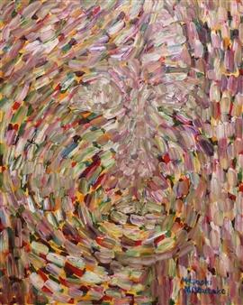 Masaoki Mitsutake - Face No.4 Oil on Canvas, Paintings