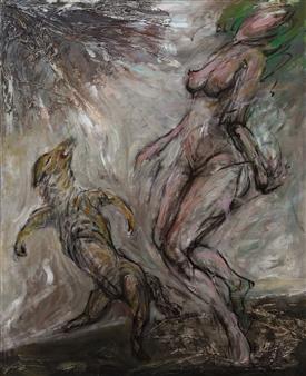 Jian Jun An - Dancing Acrylic on Canvas, Paintings