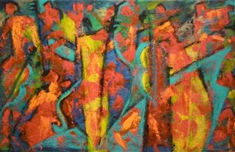Zivi Aviraz - The Band Mixed Media on Canvas, Paintings