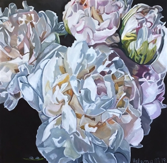 Helena McConochie - Waterdrops on Peonies 'Eleni' Oil on Canvas, Paintings