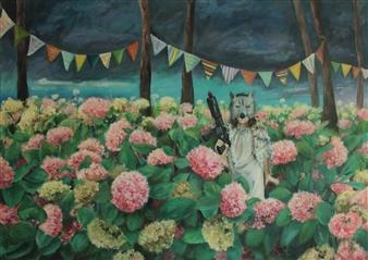Eunmi Park - Wolf Acrylic & Collage on Canvas, Mixed Media
