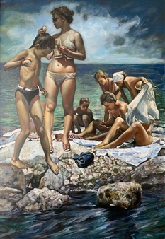 Alexandr Mischan - Gymnastics on the Black Sea (4 of 4) Tempera and Oil on Board, Paintings