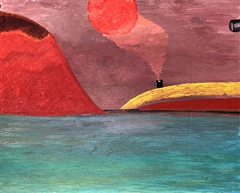 Merab Kardava - Red Mountain Oil on Canvas, Paintings