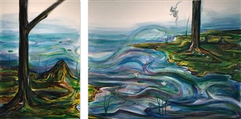 Kenji Inoue - Free-Free Oil on Canvas, diptych, Paintings