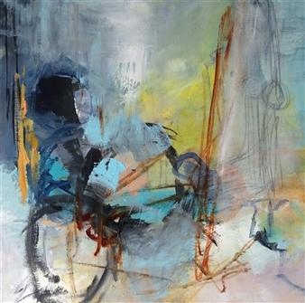 Annette Balsgaard - Biking Acrylic on Canvas, Paintings