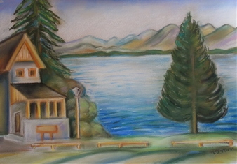 Ognyan Kostov Kolev - Restaurant by the Lake Pastel-Chalk on Special French Paper, Paintings