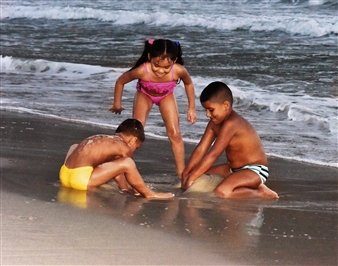 Andrea Braunfeld - Children at Play Copacabana Beach Archival Pigment Print, Photography