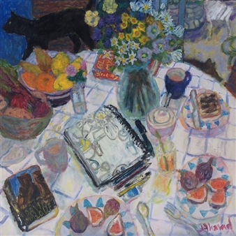 Jenny Ahmad - Brunch with Figs, Cat and Sketchbook Oil on Board, Paintings