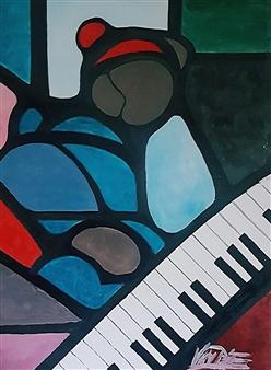 Julian Van Dyke - Piano Keys Frustration Oil on Canvas, Paintings