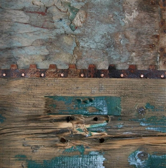 Stefano Sanna - Paesaggio in Allerta Meteo 04 (Landscape in Severe Weather 04) Mixed Media on Wood, Mixed Media