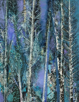 William Ingham - Green Forest Blue Acrylic on Board, Paintings