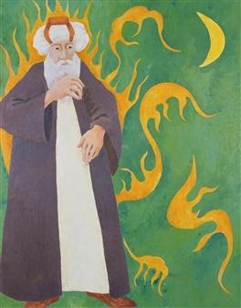 Marliese Scheller - Philosophe Oil on Masonite, Paintings