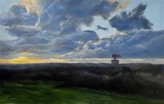 John Britton - Montauk Radar at Sunset Oil on Canvas, Paintings
