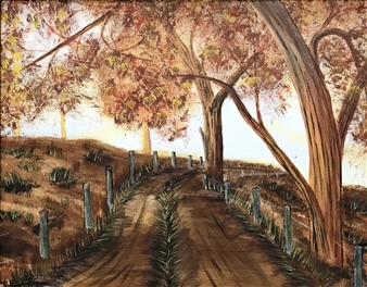 Johan van der Spuy - Wa Pad (Wagon Road) Acrylic on Canvas, Paintings