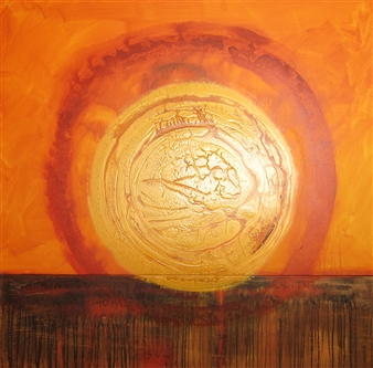 Anina E. Hathaway - Home/Sun/Solitude Acrylic & Ink on Canvas, Paintings