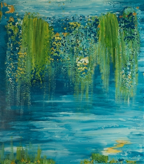 Zvia Merdinger - Flowers  of Giverny Mixed Media on Canvas, Mixed Media
