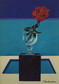 Konka - Marble Rose Acrylic on Canvas, Paintings