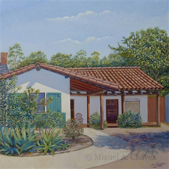 Miguel A. Chavez - San Diego House Oil on Canvas, Paintings