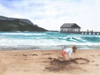 Nancy Holleran - Sandwriting in Hanalei Watercolor on Paper, Paintings