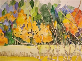 E. Halfpenny - Algoma in Autumn Watercolor & Ink on Paper, Paintings