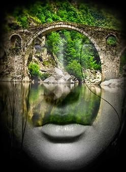 Mila Gerasimova - Reflection Digital Photo Collage on Canvas, Photography