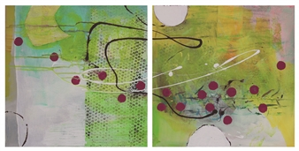 Gerlinde Amei Wöllmer - Together Acrylic & Mixed Media on Canvas, Mixed Media