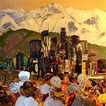 Claudia Mayer-Mallenau - L.A. Acrylic, Collage & Mixed Media on Canvas, Mixed Media