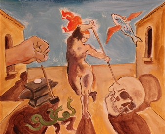 Michael Alberon - Life, Death and a Flying Fish Oil on Paper, Paintings