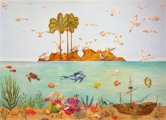 Ognyan Kostov Kolev - The Island of the Seagulls Acrylic & Gold on Canvas, Paintings