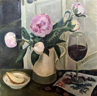 Hana Vater - Still Life with Peonies Oil on Canvas, Paintings