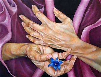 Stacie Hernandez - Blaue Blume Oil & Paper on Wood, Paintings
