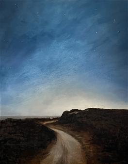 John Britton - Shadmoor at Night Oil on Canvas, Paintings