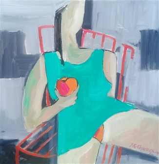 J. Roger Charoux - Femme a la Pomme Rouge Acrylic & Oil on Canvas, Paintings