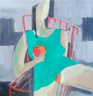 J. Roger Charoux - Femme a la Pomme Rouge Acrylic & Oil on Canvas, Paintings