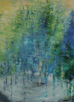 Zvia Merdinger - Lake Mixed Media on Canvas, Mixed Media