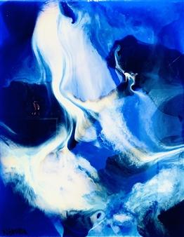 Natalia Gaviria - Deep Blue Resin on Canvas, Mixed Media