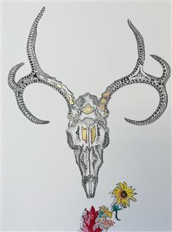 John Britton - Deer Skull Ink & Gold Leaf on Paper, Paintings