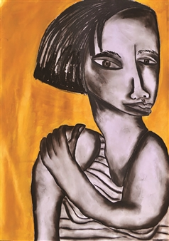 Melanie Young - Girl with Gold Background Charcoal on Paper, Drawings