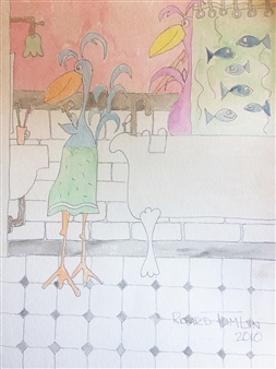 Richard Tomlin - Marsha at the Basin, Millie in the Shower Watercolor on Paper, Paintings