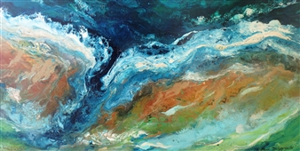 Caroline Degroiselle - The Channel of a Happy Reef Acrylic on Canvas, Paintings