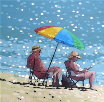 Gordon Hunt - Nan & Pops Have a Day by the Sea Acrylic on Canvas, Paintings