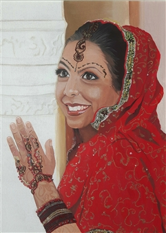 Latoya Tidd - The Hindu Bride Mixed Media & Acrylic on Canvas, Mixed Media