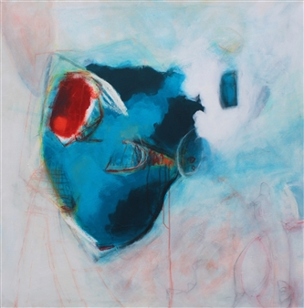 Emmanuelle Auzias - Turquoise Variation #10 Acrylic & Mixed Media on Canvas, Mixed Media