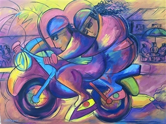 Miguel de la Cruz - Amor con Velocidad Oil on Canvas, Paintings