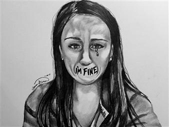 Jenna Rose Simon - I'm Fine Pencil on Paper, Drawings