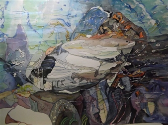 E. Halfpenny - White Rock at Hiawatha Falls Watercolor & Ink on Paper, Paintings