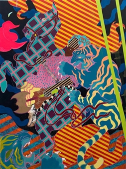 Michael Shelef - Tiger Hunt Oil on Canvas, Paintings