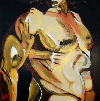 Ashley Morgan - Torso on Black Acrylic on Canvas, Paintings